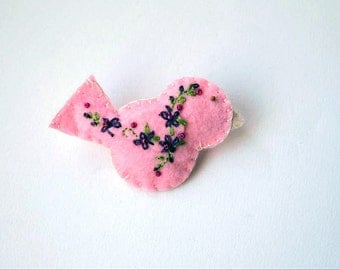 """Handmade Felt Bird Brooch or Pin In Pink with Plum, Magenta and Green Embroidered and Beaded Floral Embellishments, 2.75 x 1.5"""" Bird Pin"""