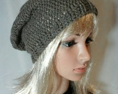 Alpaca Slouch Hat, Handmade Hat, Natural Grey Hat, Women Hat, Crocheted Hat