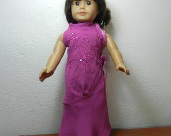BK Oriental Flapper Fusion Style, Fuchsia Crepe, Sleeveless, Long Dress with Embroidery & Beads - 18 Inch Doll Clothes fits American Girl