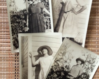 Series of Vintage Snapshots:  Young Lady with Hats, c1920 R