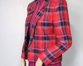 1980's Jacket Crop BlazerVintage Lord & Taylor Bright Plaid Blazer Pink Fuschia Women's Size 6 Petite