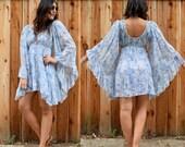 Vintage 70s ANGEL SLEEVE Mini Dress S M