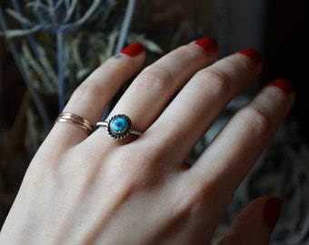 Turquoise and Silver Twisted Stacker Ring size 5