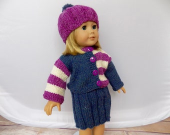 Doll Clothes, 18 Inch Doll Outfit, Knit Doll Clothes, Winter Doll Outfit