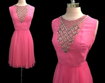 Vintage 1960s Hot Pink Chiffon Jeweled Bodice Pleated Cocktail Party Dress M