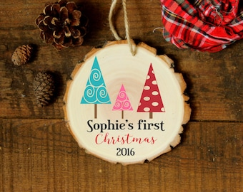 Personalized Baby's First Christmas - Daddy, Mommy Tree with Baby Tree - Personalized Christmas Ornament - XMAS064