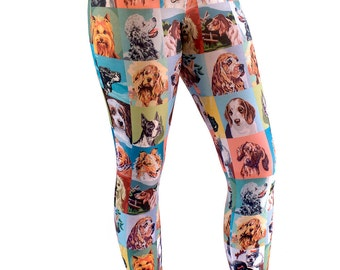 Dog Paint By Number Capris Leggings - dog leggings - PBN dogs - novelty leggings - dog capris - dog portraits - XS-5XL