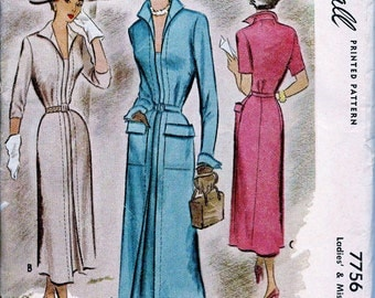 1940s McCall Pattern 7756 // RARE // Classy  Ladies'  Dress w/ Fitted Bodice, Sleeve Options  //  Size 40 Bust * UNCUT