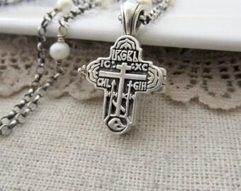 Silver Cross Locket, Prayer Box Locket, Pearl Locket, Sterling Silver Locket, Religious Jewelry, Cross Necklace, Mom Gift, Vintage Locket