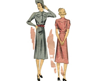 1930s Dress Pattern Day Dress Button Front Chevron Yoke Bloused Bodice Long Sleeves DuBarry 2086 Bust 36 UNPRINTED Vintage Sewing Pattern