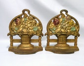 Pair of Antique Cast Iron Book Ends Shabby Chic Cottage Chic Basket of Flowers Bookends