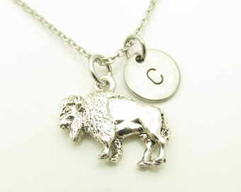 Buffalo Necklace, Bison Buffalo Charm Necklace, Silver Buffalo, Personalized Stamped Initial Necklace, Animal Charms, Monogram Necklace Y268
