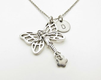 Fairy Necklace, Flower Fairy Necklace, Personalized, Initial Necklace, Monogram Necklace, Mythical Creatures, Antique Silver Fairy Y290