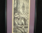 """1966 New Orleans American Blues Singer """"Sleepy John Numbered Etching Signed T. Hopkins 1966"""