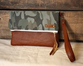 Camo canvas Clutch with leather trim Wrist strap  --READY