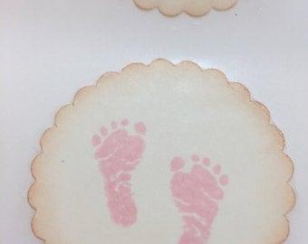 Baby Footprint Sticker Seals Baby Girl Shower Thank You Gift Seals Set of 12
