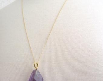 Gold Amethyst Necklace, Amethyst Nugget Pendant, 14kt Gold Necklace, 24 inch Gold Chain, Amethyst Pendant