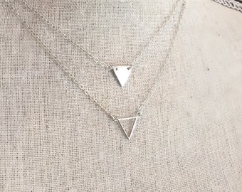 Sterling Silver Triangle Necklace Small