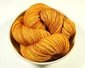 Hand Dyed Yarn - Sock Weight Superwash Merino Wool Yarn - Marigold - Knitting Yarn, Sock Yarn, Wool Yarn, Yellow Orange Tonal