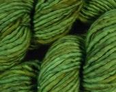 SALE! Hand Dyed Yarn - Bulky Weight Single Ply Superwash Merino Wool / Nylon Yarn - Potluck Spring Greens - Knitting Yarn - Limited Edition