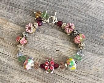 Green Pink Flower Bracelet, Floral Jewelry Lampwork Bracelet, Nature Inspired, Cottage Chic, Rose Pink Glass Bracelet - Rose Garden pink