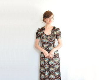 1970 black floral maxi dress . daisy meadow boho floor length gown .small.medium .sale
