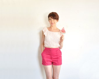 fuchsia pink Catalina shorts . high waist summer beach boardwalk wear .extra small.xs .sale