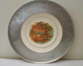 Vintage Farberware Plate with Hammered Aluminum Edge