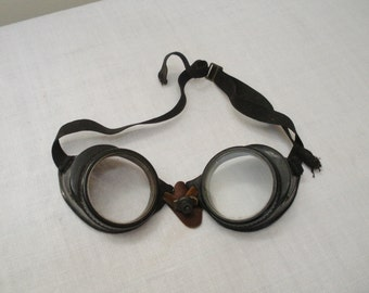 Vintage Steampunk Willson Safety Goggles - Motorcycle Goggles