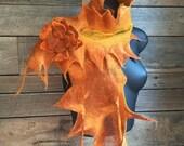 Nuno Felted Scarf - Orange Felted Scarf - Wool Felt Scarf - Silk Scarf - Nuno - Wet Felting - Women's Accessories - Gift for Her - Nuno Felt