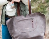 Leather Bag / Oversize Bag /  Gray Leather Bag / Leather Handbag / Tote Leather Bag / Totes / Women Gifts / Mother's Day Gifts
