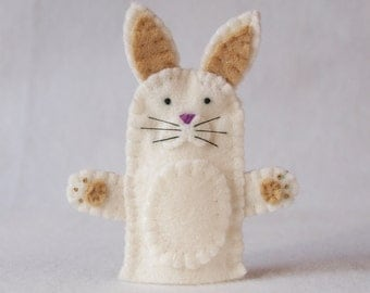 Felt finger puppet, rabbit, animal puppet, storytime puppet