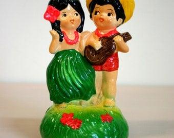 Vintage 1974 Hawaiian Hula Girl and Ukulele Boy Musical Rotating Ceramic Figurine