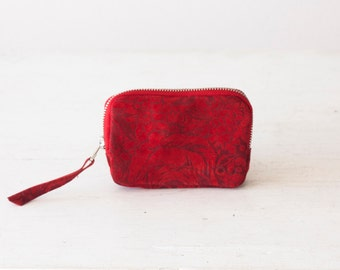 Zipper pouch in red suede floral leather, coin purse zipper phone case money bag - The Myrto Zipper pouch