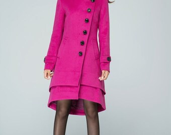 coat, wool coat, winter coat, warm coat, hooded coat, winter coat, knee length coat, asymmetrical coat, plus size coat,Wool jacket 1604