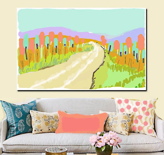 Modern Retro Landscape Painting, Acrylic on Canvas, Soft Colors, Wall Art, Large Handpainted Original Painting, Roadtrip Series