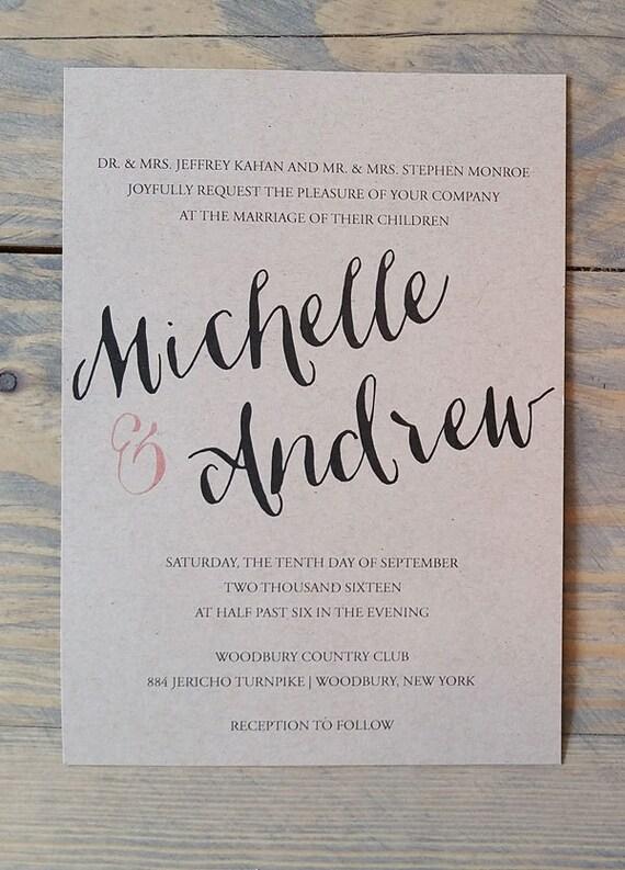 Kraft Wedding Invitation Printable, printable rustic wedding invitation, rustic wedding invitation, modern wedding invitation printable