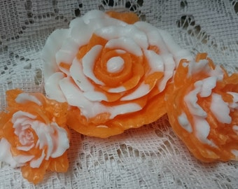3 FLOWER SOAPs,  Spring Soap, Orange and White Flower Soap, Mothers Day soap Gift, Christmas Gift for Her, Handcrafted Glycerin Soap