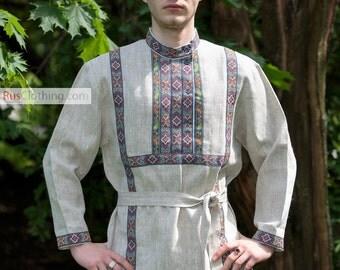 Cossack shirt, Russia shirt, traditional attire, gypsy shirt, ukraine shirt, long sleeve shirt, linen shirt for men, russian fashion