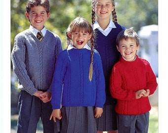 Wash 'n Wear Crepe DK Classic Kid's Sweaters - Sirdar Knitting Pattern 4192 To knit for children, tweens and teens Ages 3-16yrs Chest 24-36