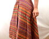 Vintage 80s Guatemalan Rainbow Red Woven Hippie Wrap Around Skirt