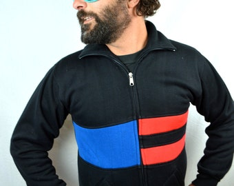 Vintage 1980s 80s Blue Red Striped Ringer Track Jacket