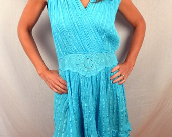 Cute Hippie Gauzy Crochet Cotton Summer Teal Blue 80s  Dress
