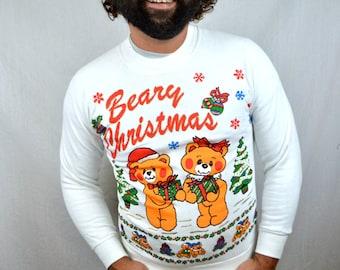 Vintage 80s 1980s Beary XMAS Christmas Sweater Sweatshirt