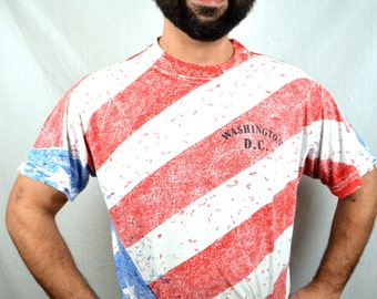 Vintage 90s Red White Blue Washington DC Flag USA United States Souvenir Tshirt Tee Shirt