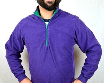 Vintage 80s Lands End Purple Cotton Pullover