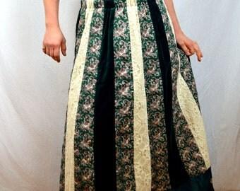 Vintage 70s Designer Chessa Davis Boho Velvet Patchwork Hippie Skirt
