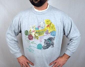 Vintage 80s Puffy Kitty Cat Meow Cute Yarn Sweatshirt