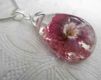 Dianthus Pressed Flower Teardrop Pendant In Shades of Ombre Soft Pink,Maroon,White-Pink Queen Anne's Lace-Symbolizes Peace, Passion, Romance