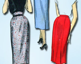 1950s Vintage Advance Sewing Pattern 6256 Sew Easy Misses Pencil Skirt 24 Waist